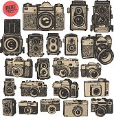Hand drawing retro photo cameras.  Big graphic isolated objects of vector set