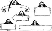 Hand Drawing Set of Halloween Frames with Grim Reaper