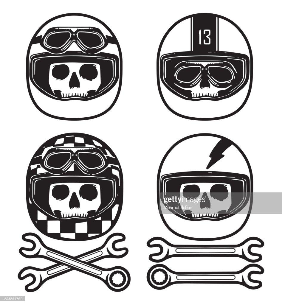 Hand drawing skulls wearing various racing helmets