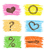 Hand drawing square and symbols frame, heart, arrow, question mark, percent sign design elements.