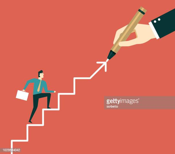 hand drawing stairs for a businessman - moving up stock illustrations