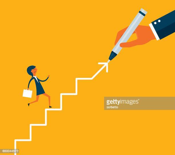 Hand drawing stairs for a businessman