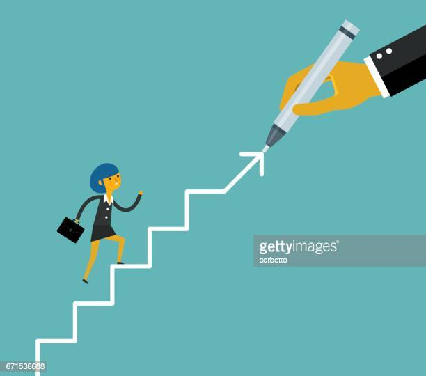 Hand drawing stairs for a businesswoman