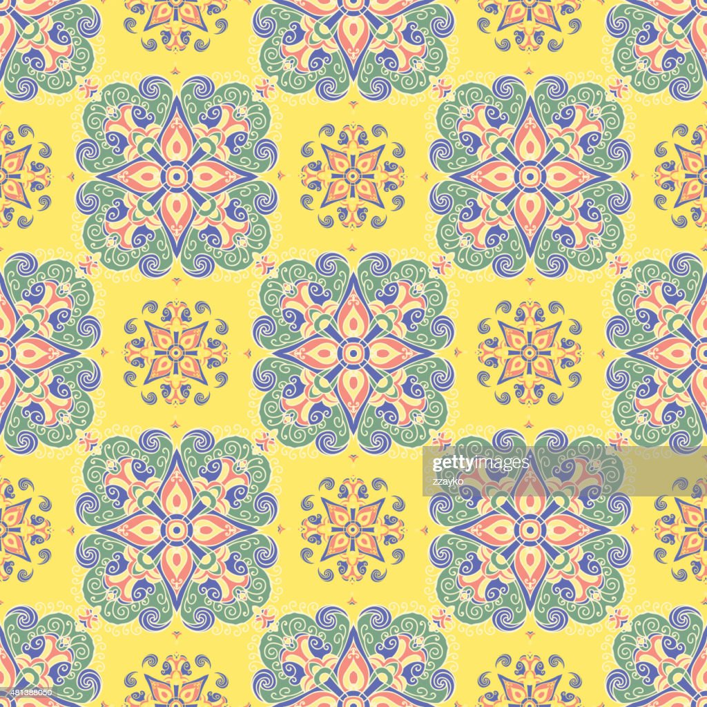 Hand drawing tile vintage color seamless parttern. Italian majolica style :  stock vector