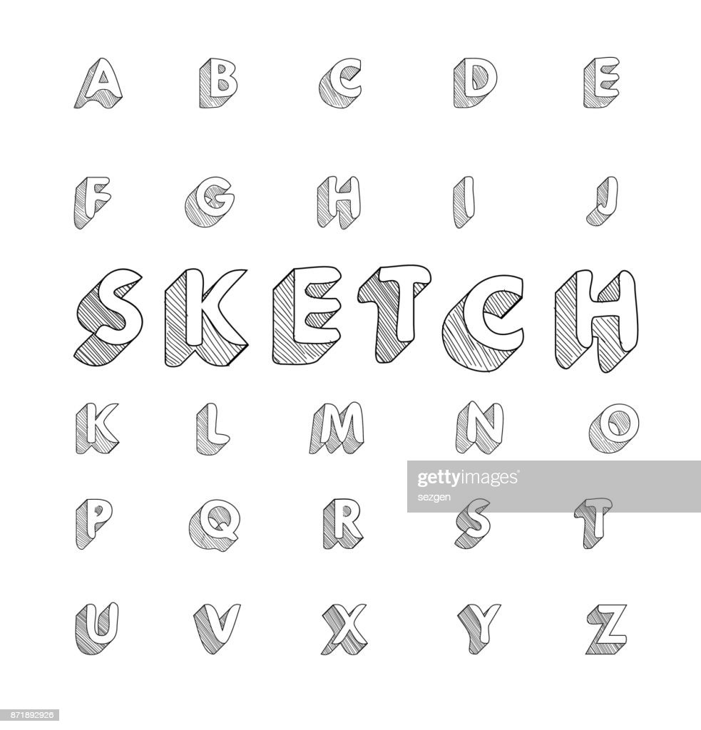 hand drawing vector doodle sketch font design