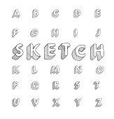 hand drawing vector doodle sketch font design