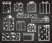 Hand drawing vector set with gifts. Gifts for different holidays. On New Year's Eve, Christmas, birthday, Valentine's Day and others.