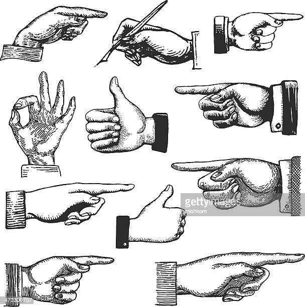 hand drawings - retro style stock illustrations