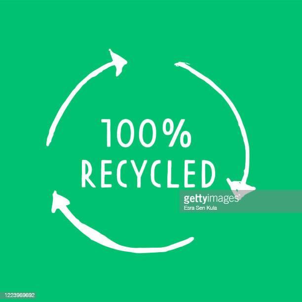 ilustrações de stock, clip art, desenhos animados e ícones de hand drawn 100% recycled symbol - símbolo de reciclagem