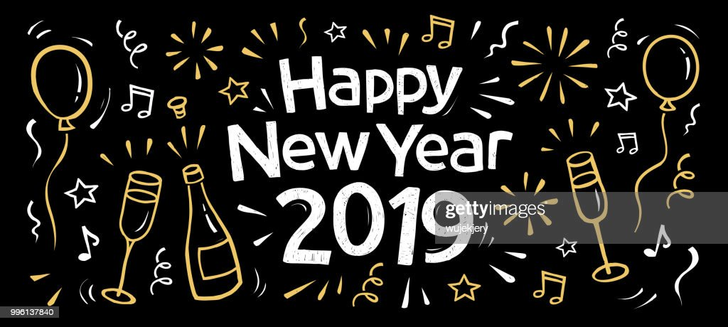 hand drawn 2019 happy new year banner vector art