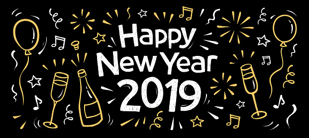 hand drawn 2019 happy new year banner - gettyimageskorea