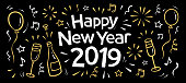 hand drawn 2019 happy new year banner