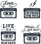 Hand drawn 90s themed set of badges.