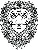 Hand drawn abstract lion illustration
