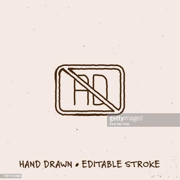 ilustrações, clipart, desenhos animados e ícones de ícone de linha única do bloco de anúncios desenhado à mão com traçado editável - proibido