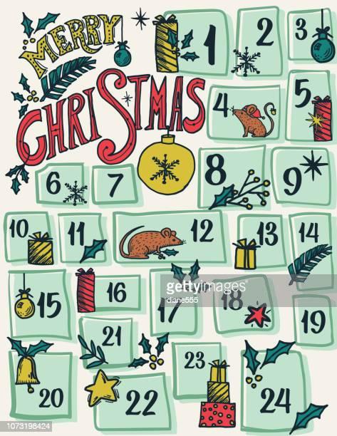 illustrations, cliparts, dessins animés et icônes de calendrier de l'avent dessinés avec ornements & souris à la main - avent