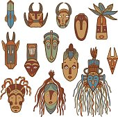 Hand drawn african masks. Vector set.