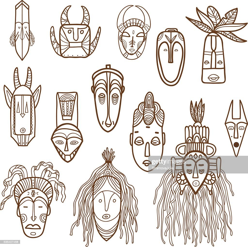 Hand drawn african masks. Vector set.