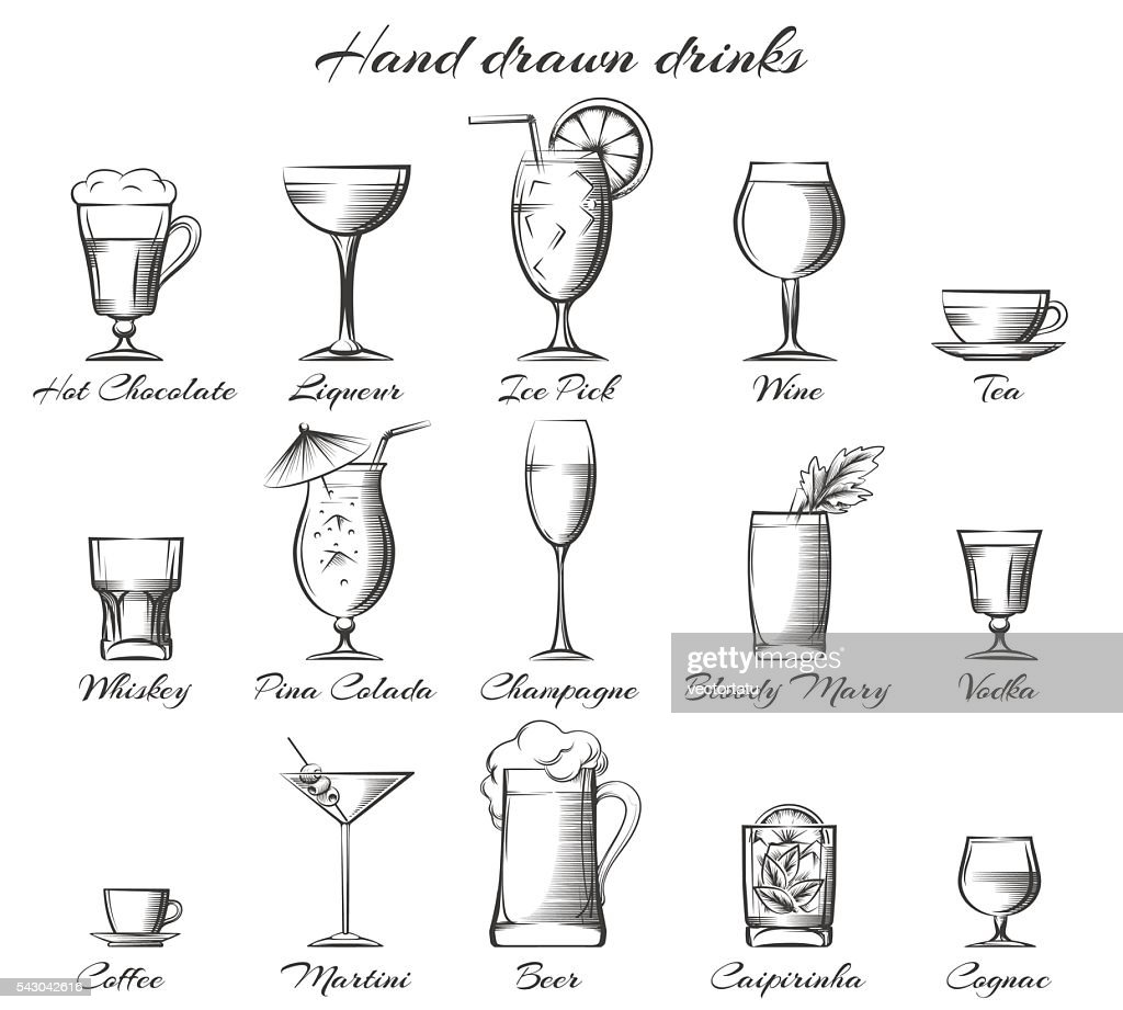 Hand drawn alcoholic and non-alcoholic drinks