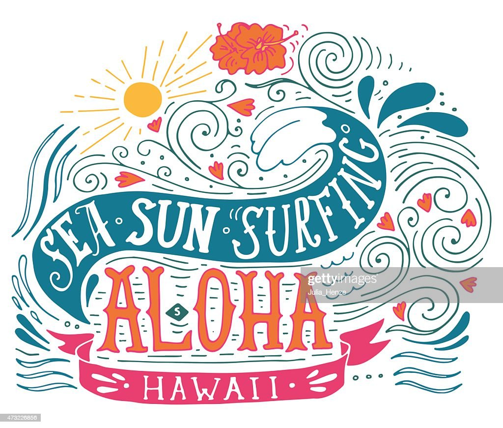 Hand drawn aloha print with a wave, sun, flowers