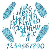 Hand drawn alphabet and ethnic, tribal art feathers
