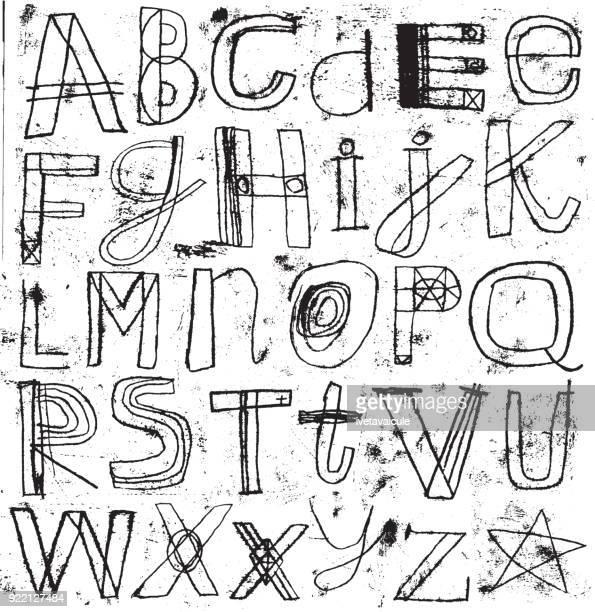手繪字母設置與垃圾效果 - pejft 幅插畫檔、美工圖案、卡通及圖標