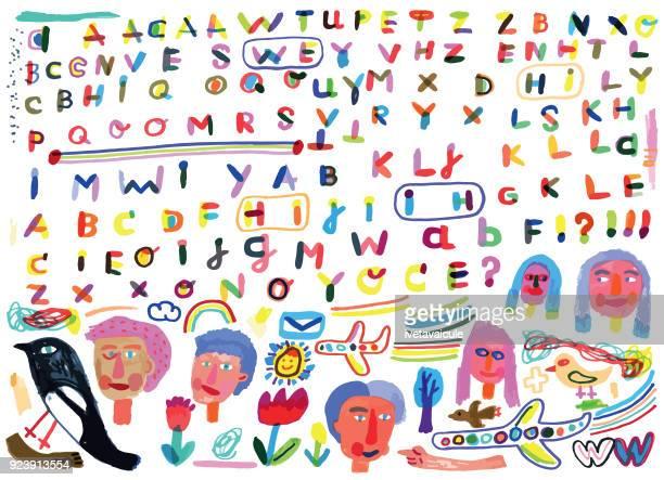 手繪字母和塗鴉 - pejft 幅插畫檔、美工圖案、卡通及圖標