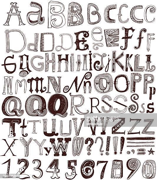 hand drawn alphabet letters and numbers - pejft 幅插畫檔、美工圖案、卡通及圖標