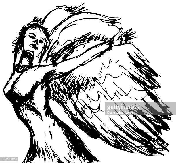 hand drawn angel - afterlife stock illustrations, clip art, cartoons, & icons
