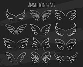Hand drawn angel wings on chalkboard
