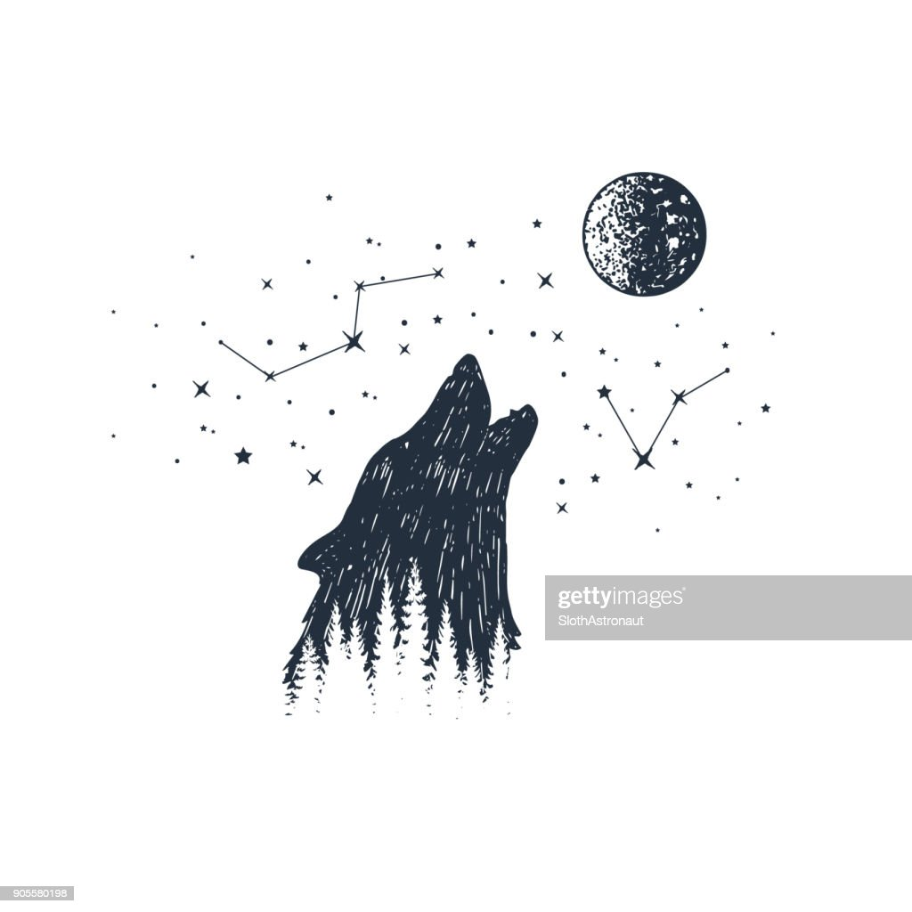 Hand drawn animal and constellation vector illustrations.