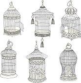 Hand Drawn Antique Bird Cages