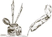 Hand Drawn Antique Feather Quill Pen & Ink well