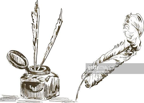 hand drawn antique feather quill pen & ink well - quill pen stock illustrations