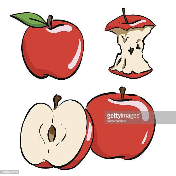 hand drawn apple - imagem a cores stock illustrations