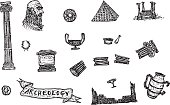 Hand drawn archeology icons set