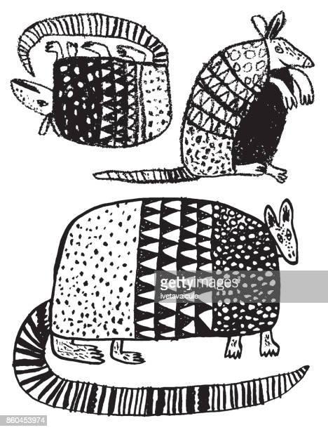 hand drawn armadillo on white background - armadillo stock illustrations