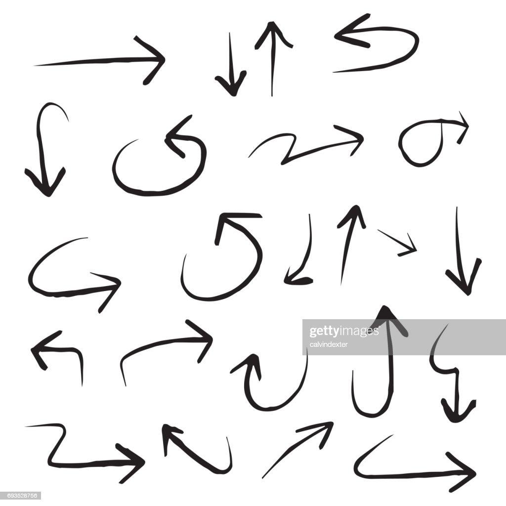 Hand drawn arrow symbols : Stock Illustration