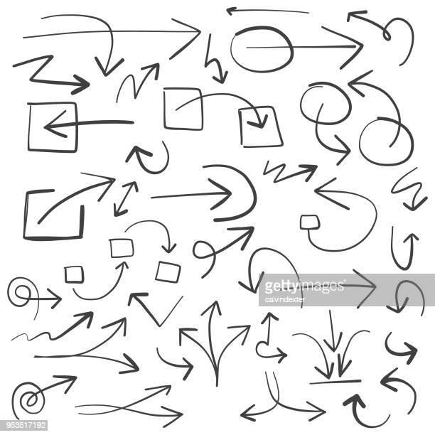 Hand drawn arrow symbols