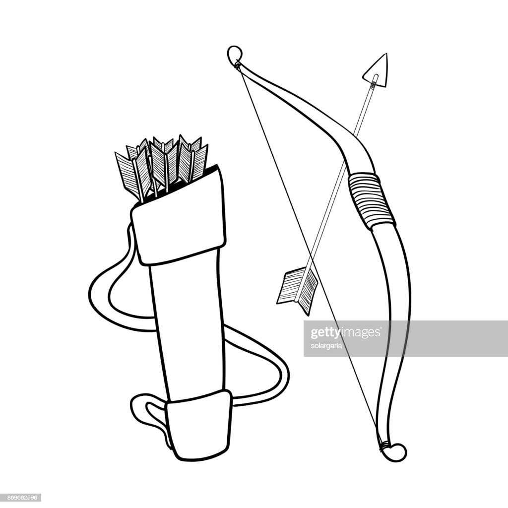 Hand drawn Arrows bow and case-Vector Illustration