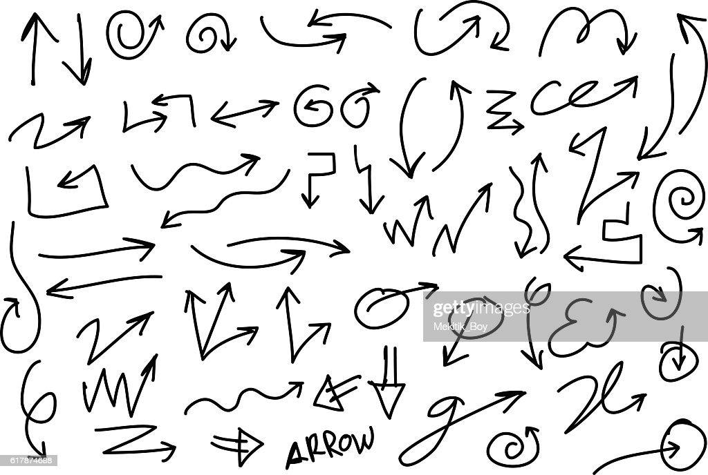 Hand Drawn Arrows Set, Vector, Pencil Drawing