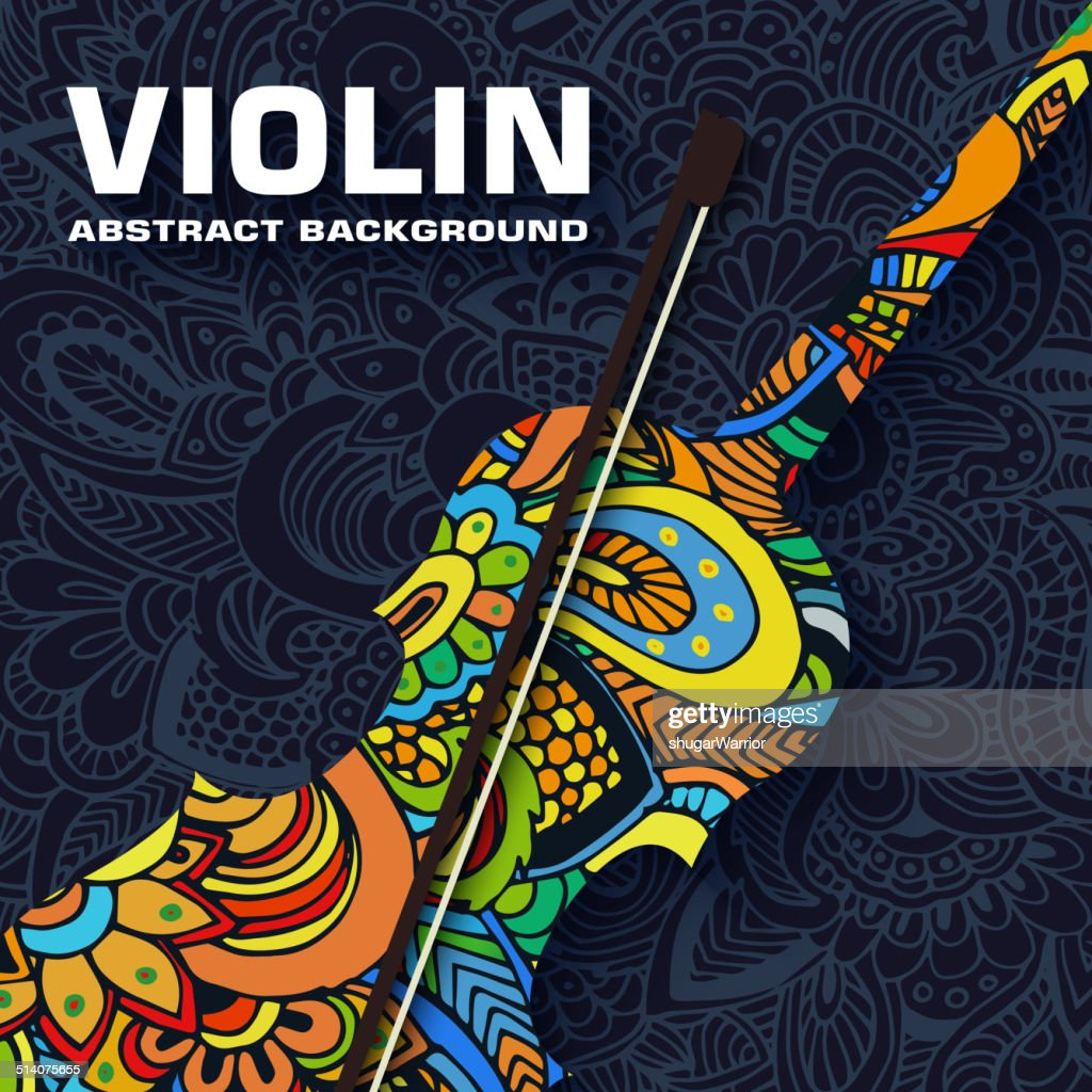 Hand drawn art musical violin abstract background ornament  concept