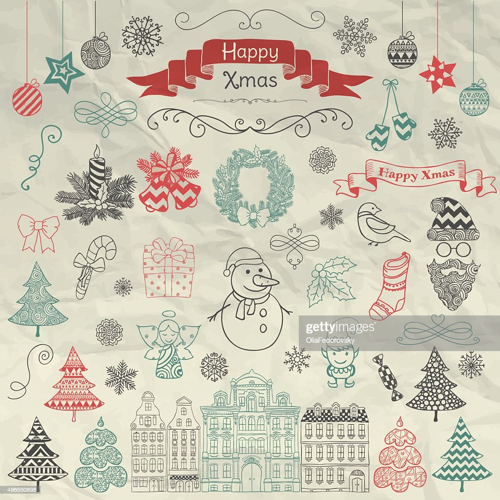 Hand Drawn Artistic Christmas Doodle Icons on Crumple Paper