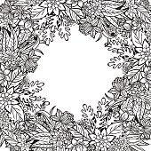 Hand drawn artistic ethnic ornamental patterned floral frame.