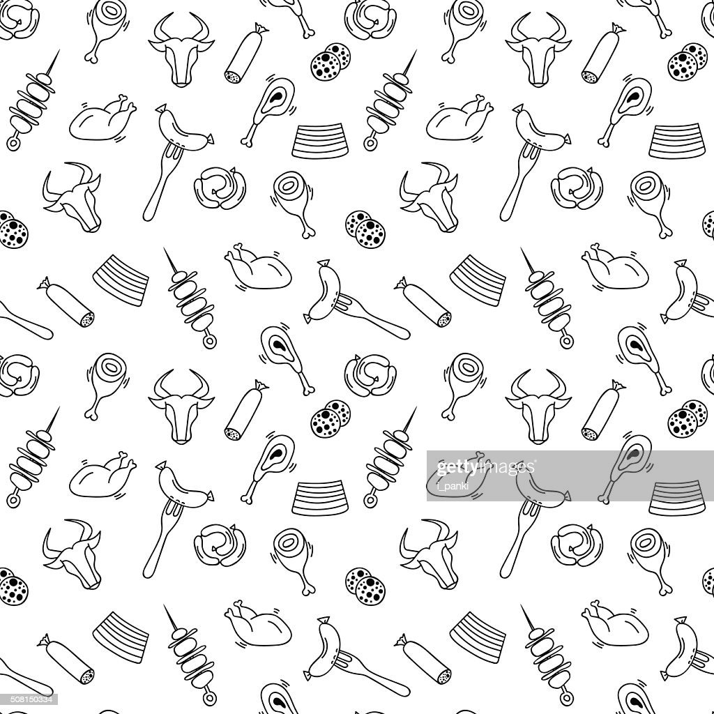 Hand drawn artistic meat seamless pattern for adult coloring pag