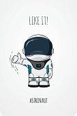 Hand drawn astronaut in spacesuit. Line art cosmic vector illustration