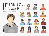 Hand drawn avatars set of different characters