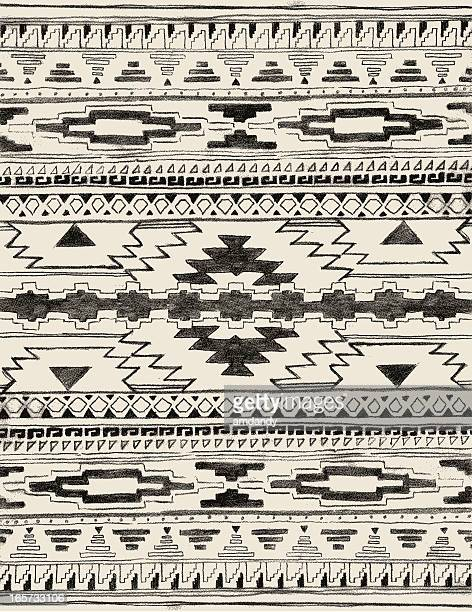 hand drawn aztec pattern - indigenous north american culture stock illustrations, clip art, cartoons, & icons