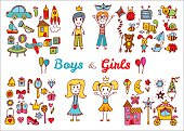 Hand drawn baby boy and girl toys set. Doodle  drawing.