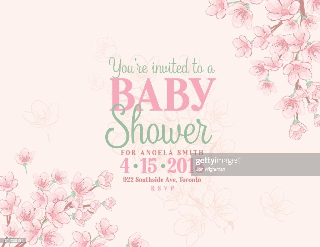 Hand drawn baby shower invitation with cherry blossom vector art hand drawn baby shower invitation with cherry blossom vector art filmwisefo